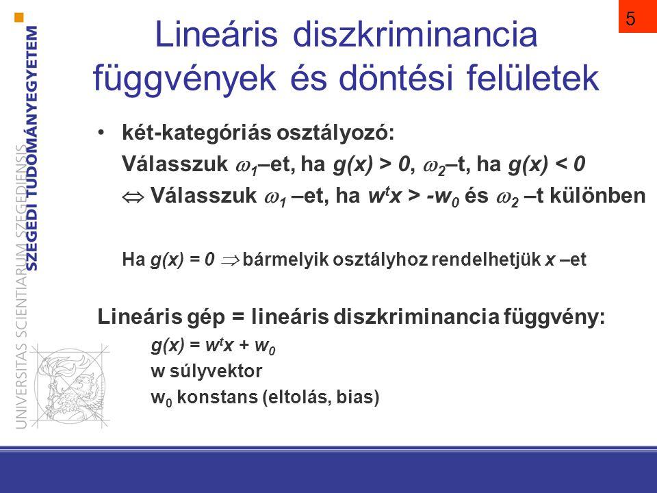 A g(x) = 0 definiálja azt a döntési felületet, amely elválasztja azokat a pontokat, amelyekhez 1-et rendelünk, azoktól, amelyekhez 2-t