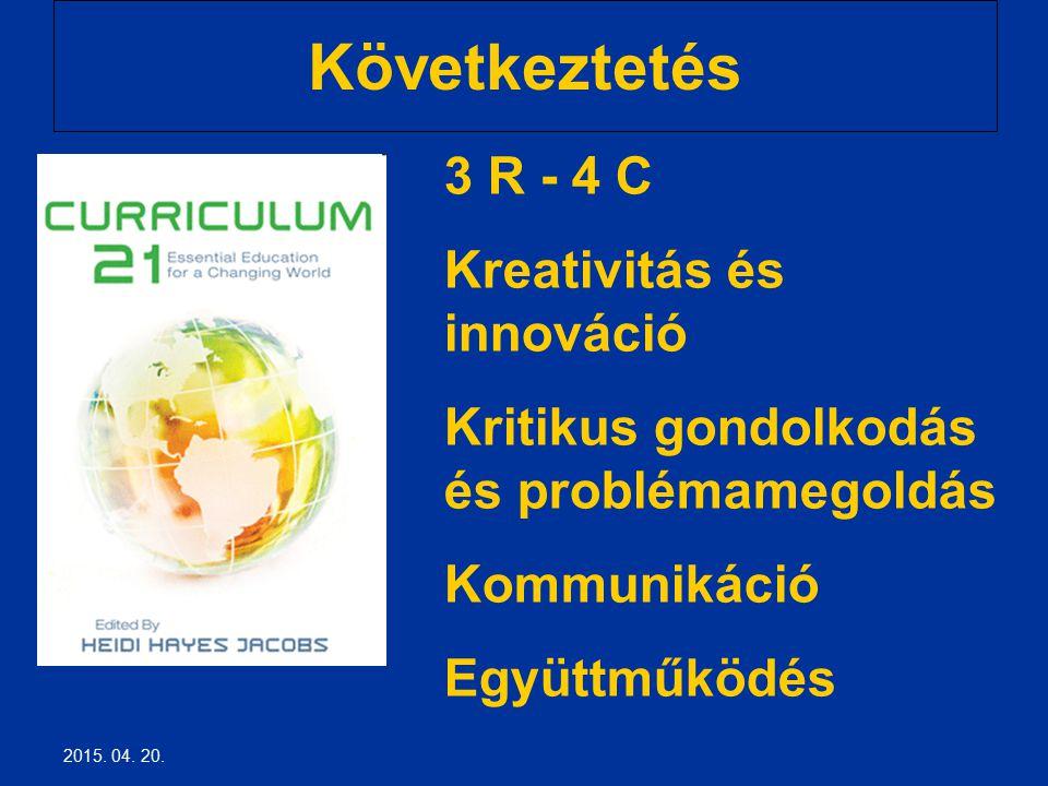 Következtetés 3 R - 4 C Kreativitás és innováció