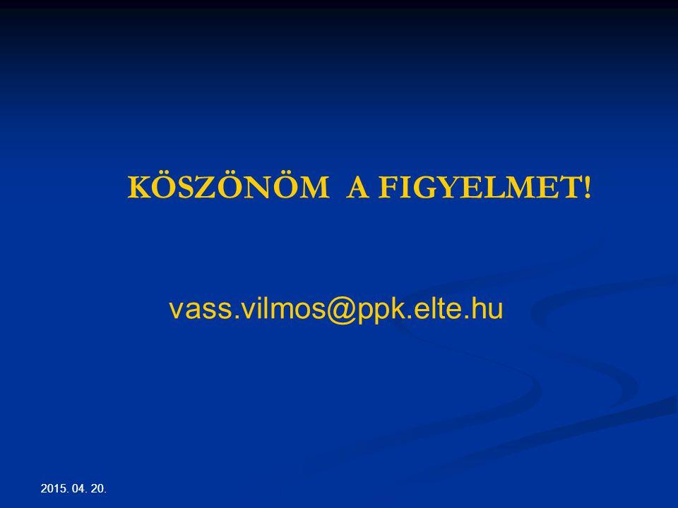 KÖSZÖNÖM A FIGYELMET! vass.vilmos@ppk.elte.hu 2017.04.13. 2017.04.13.
