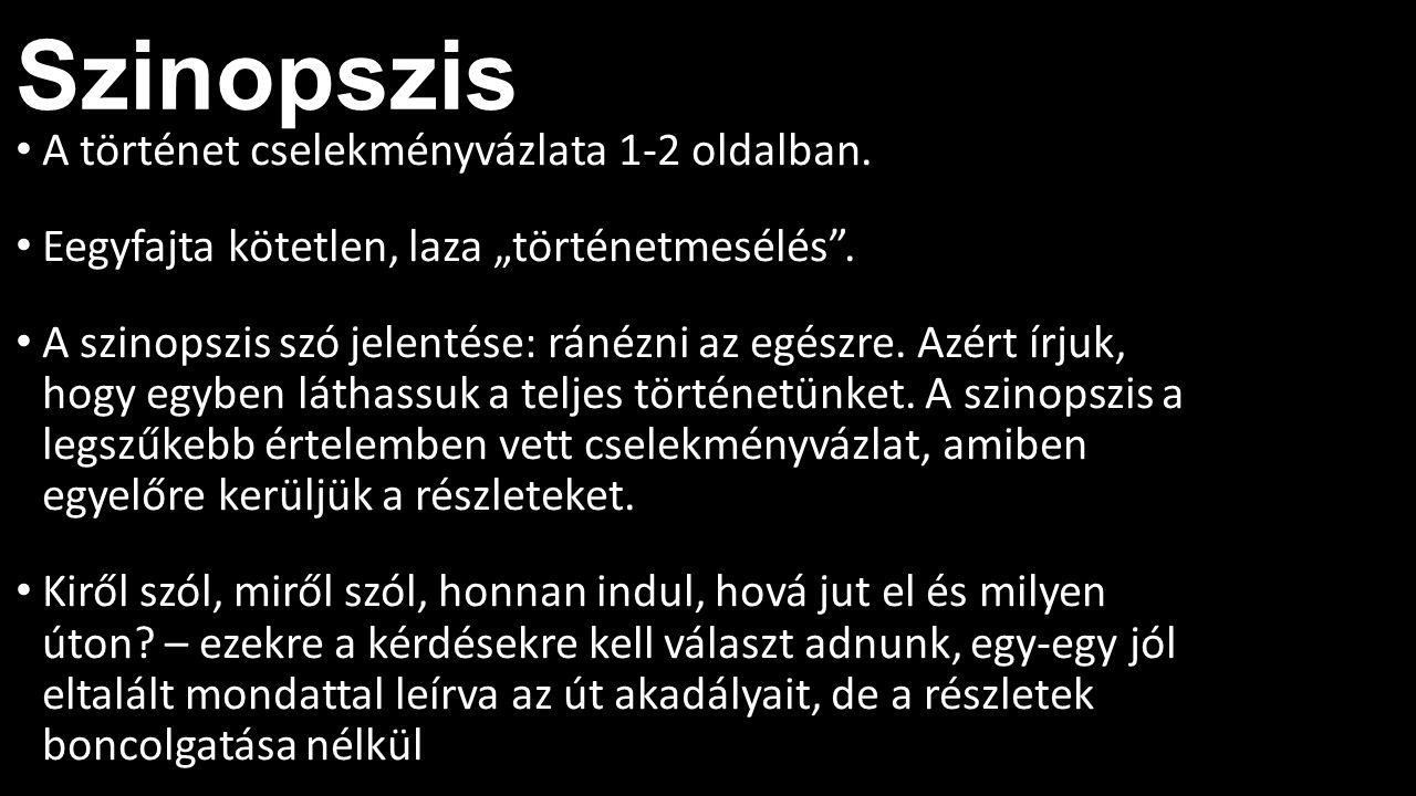 Szinopszis A történet cselekményvázlata 1-2 oldalban.