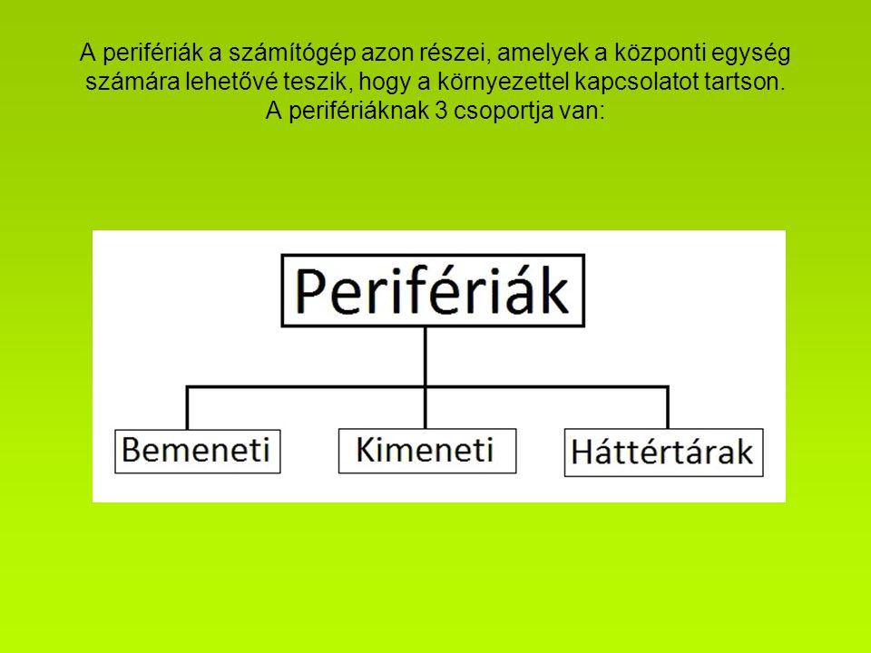 A perifériák a számítógép azon részei, amelyek a központi egység számára lehetővé teszik, hogy a környezettel kapcsolatot tartson.