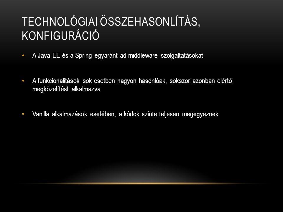 Technológiai összehasonlítás, konfiguráció