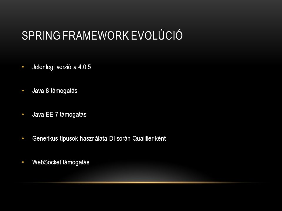 Spring framework evolúció