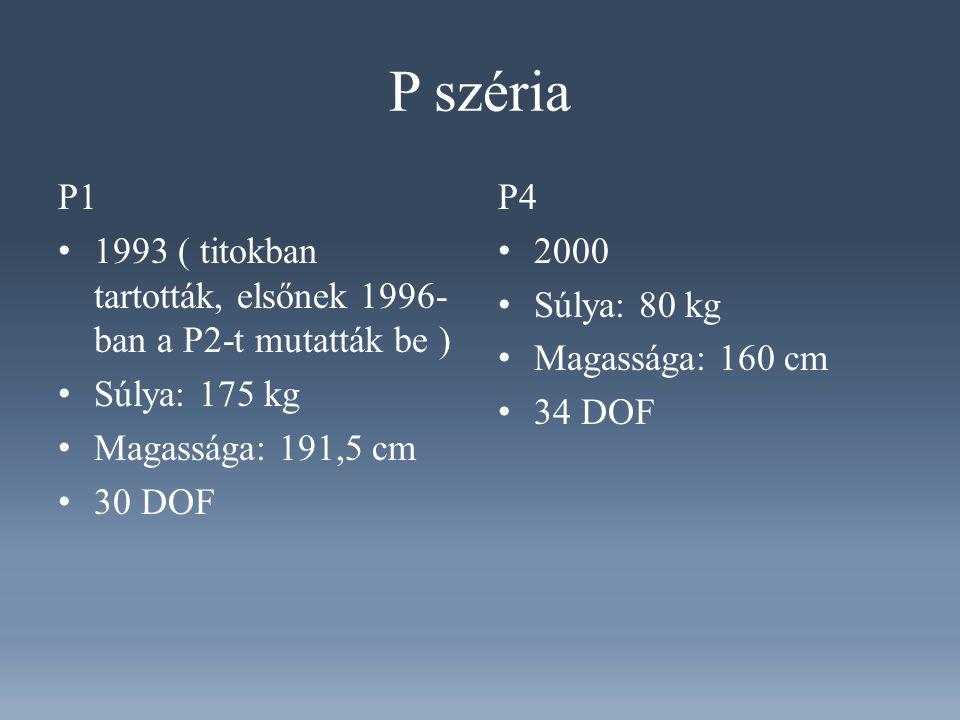 P széria P1. 1993 ( titokban tartották, elsőnek 1996-ban a P2-t mutatták be ) Súlya: 175 kg. Magassága: 191,5 cm.