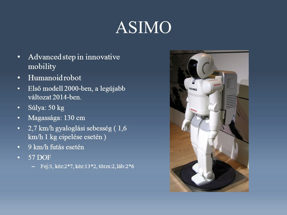 ASIMO Advanced step in innovative mobility Humanoid robot