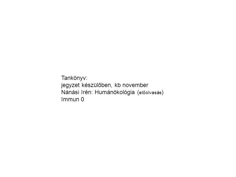 Tankönyv: jegyzet készülőben, kb november Nánási Irén: Humánökológia (előolvasás) Immun 0