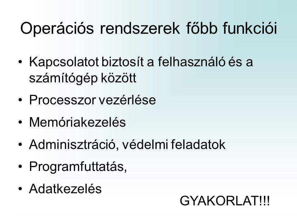 Operációs rendszerek főbb funkciói