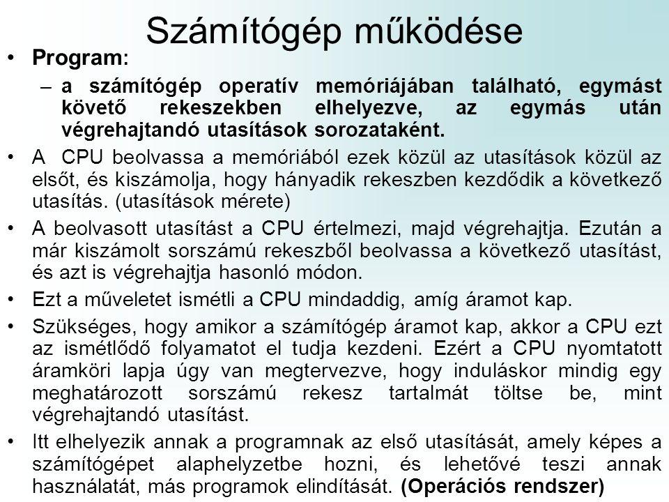 Számítógép működése Program: