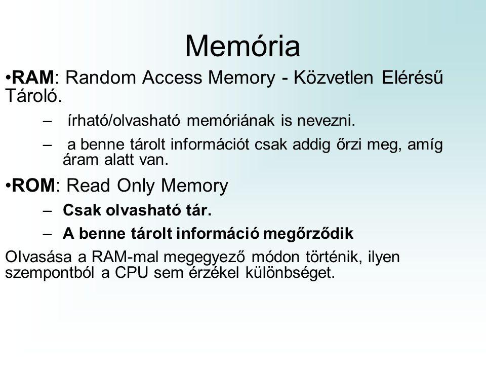 Memória RAM: Random Access Memory - Közvetlen Elérésű Tároló.