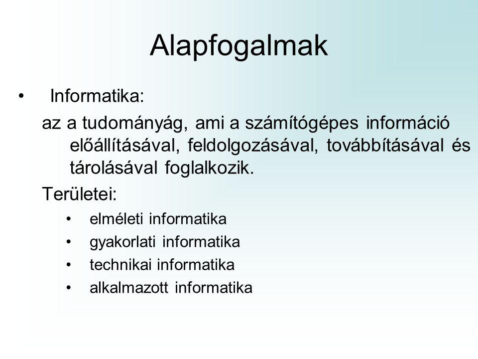 Alapfogalmak Informatika:
