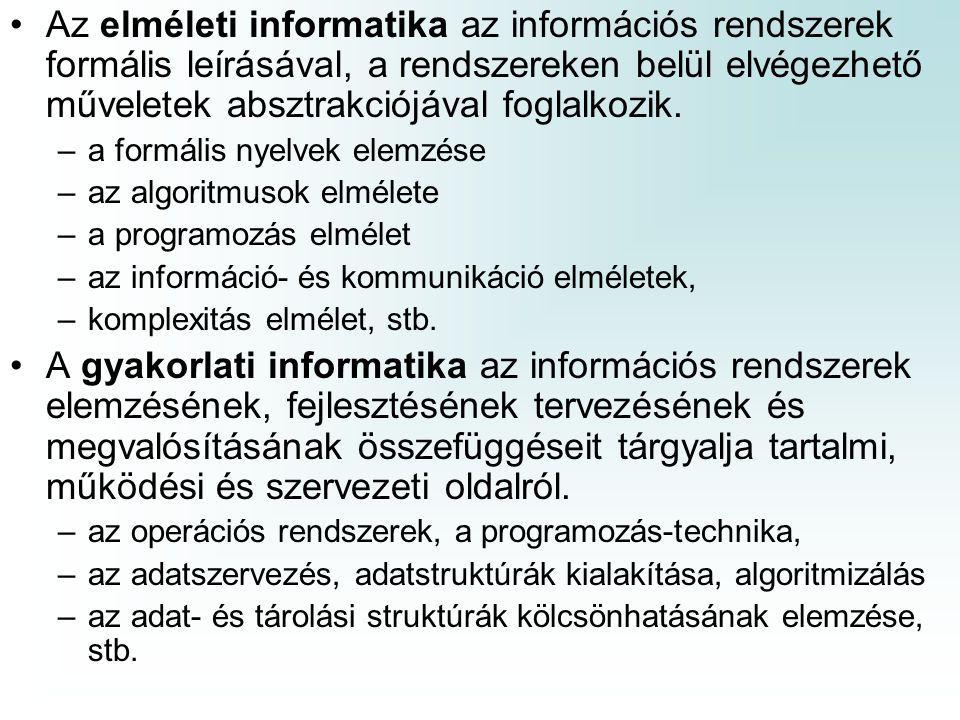 Az elméleti informatika az információs rendszerek formális leírásával, a rendszereken belül elvégezhető műveletek absztrakciójával foglalkozik.