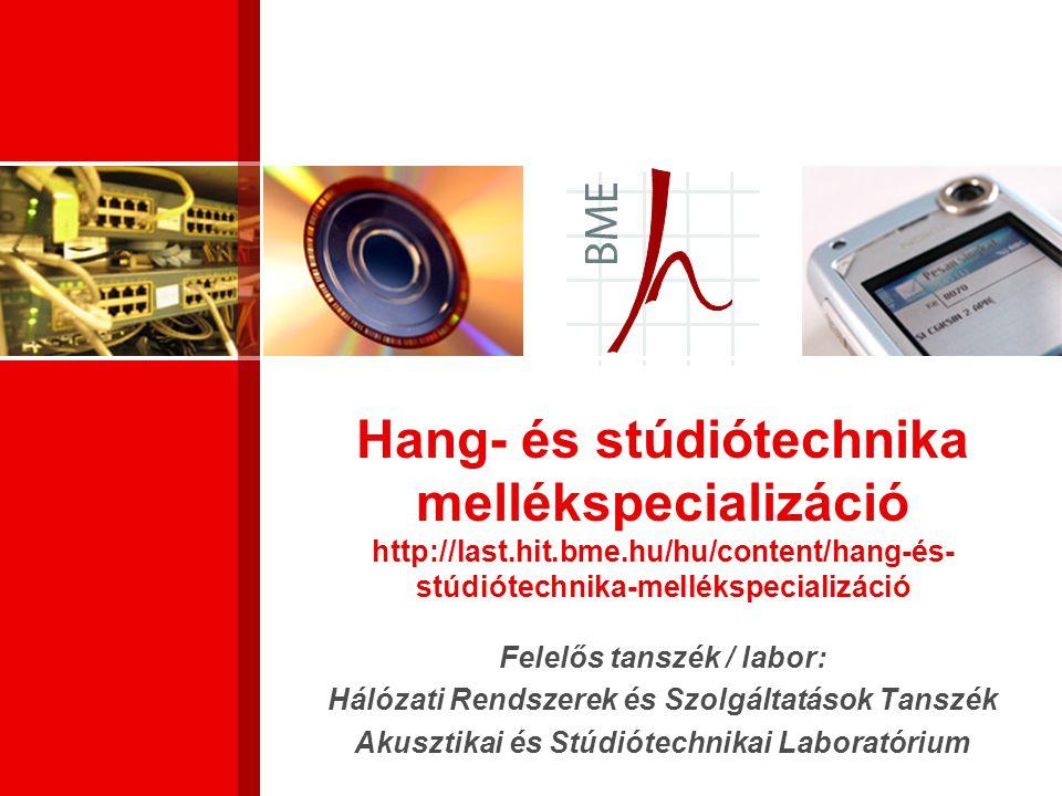Hang- és stúdiótechnika mellékspecializáció http://last. hit. bme