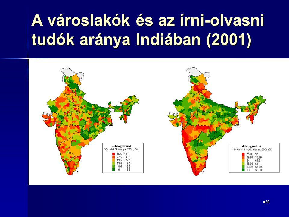 A városlakók és az írni-olvasni tudók aránya Indiában (2001)
