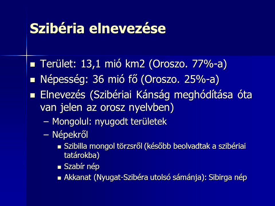 Szibéria elnevezése Terület: 13,1 mió km2 (Oroszo. 77%-a)