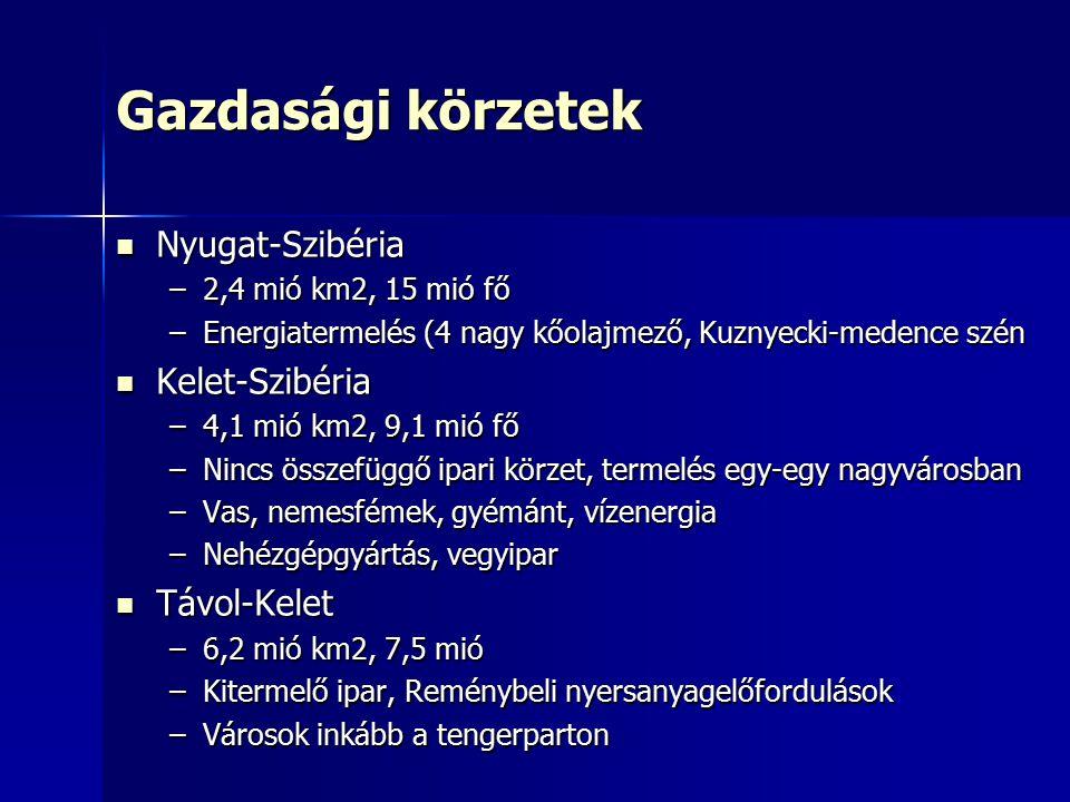 Gazdasági körzetek Nyugat-Szibéria Kelet-Szibéria Távol-Kelet