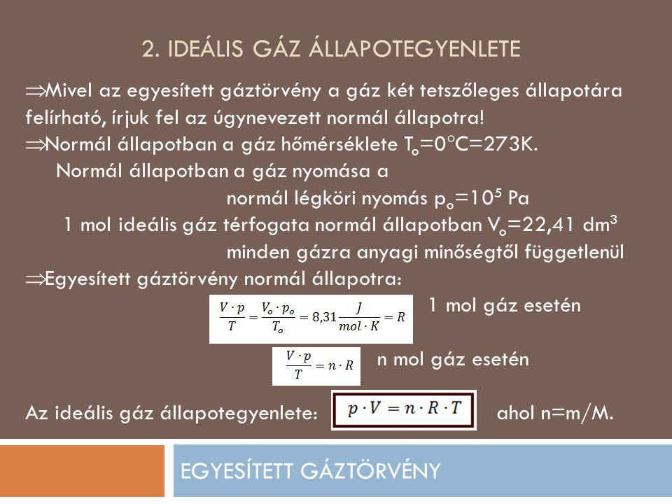 2. Ideális gáz állapotegyenlete