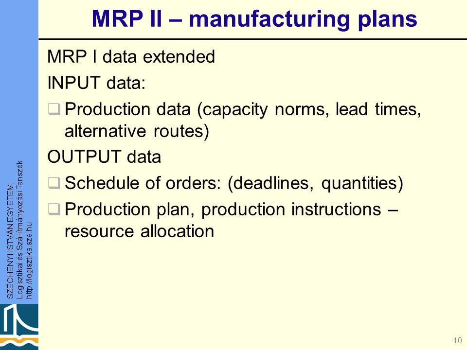 MRP II – manufacturing plans