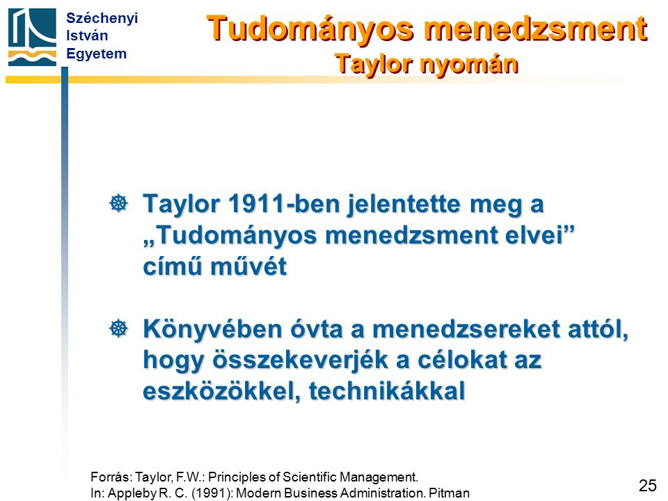 Tudományos menedzsment Taylor nyomán