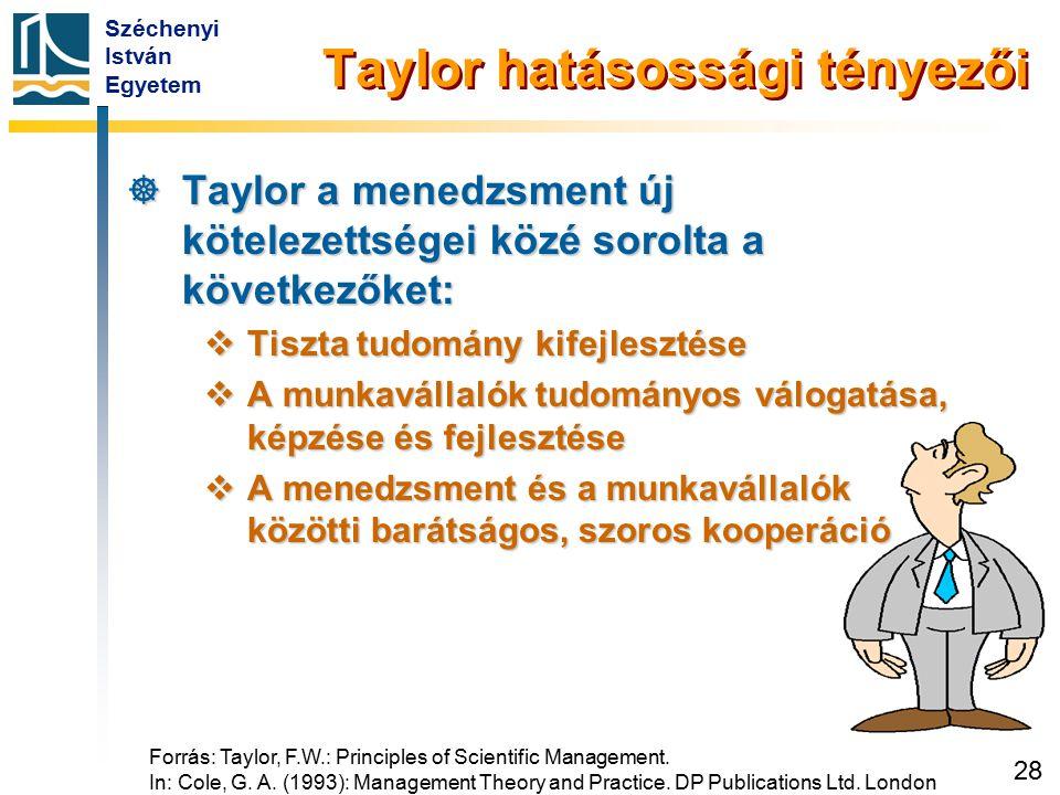 Taylor hatásossági tényezői