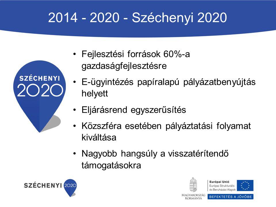 2014 - 2020 - Széchenyi 2020 Fejlesztési források 60%-a gazdaságfejlesztésre. E-ügyintézés papíralapú pályázatbenyújtás helyett.