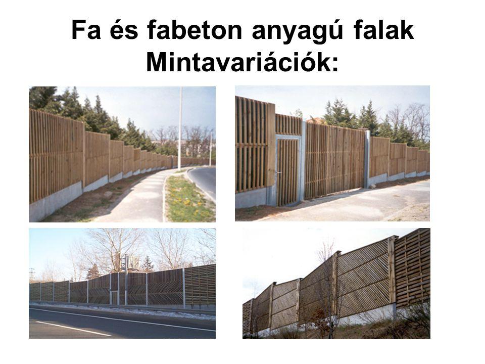 Fa és fabeton anyagú falak Mintavariációk: