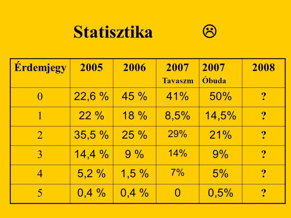 Statisztika  Érdemjegy 2005 2006 2007 2008 22,6 % 45 % 41% 50% 1