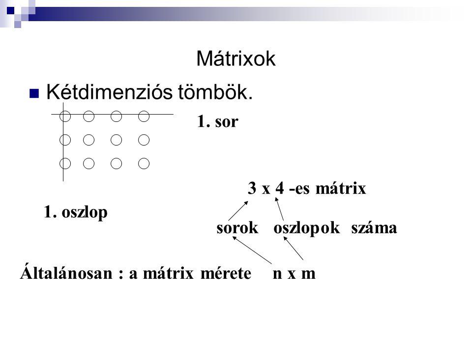 Mátrixok Kétdimenziós tömbök. 1. sor 3 x 4 -es mátrix 1. oszlop