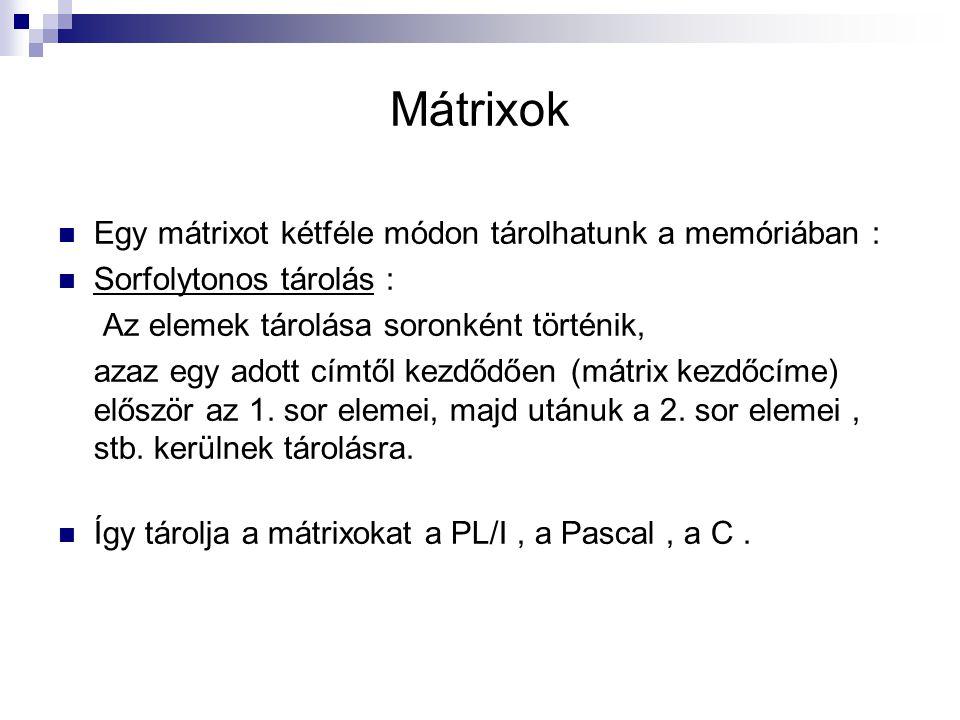 Mátrixok Egy mátrixot kétféle módon tárolhatunk a memóriában :