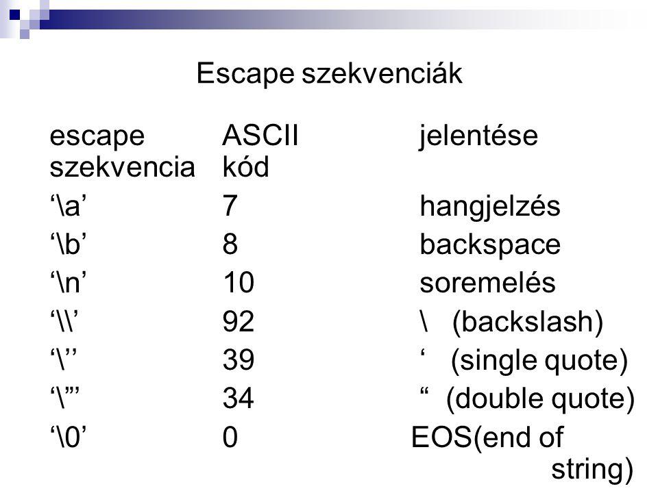 Escape szekvenciák escape ASCII jelentése szekvencia kód. '\a' 7 hangjelzés. '\b' 8 backspace.