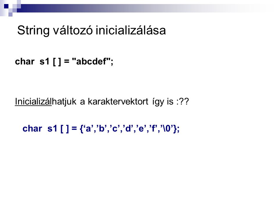 String változó inicializálása
