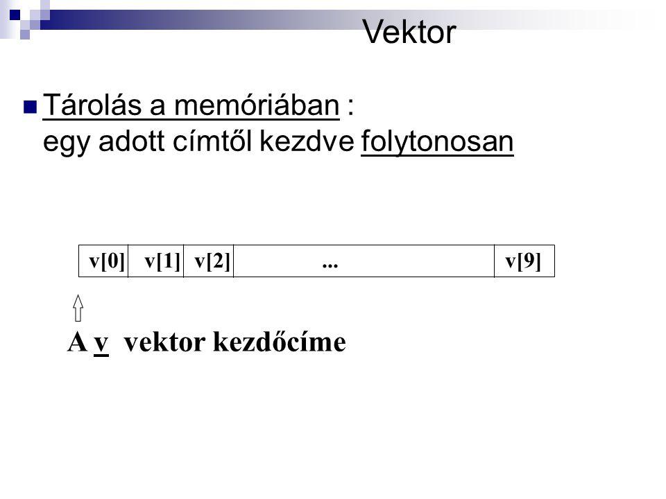 Vektor Tárolás a memóriában : egy adott címtől kezdve folytonosan