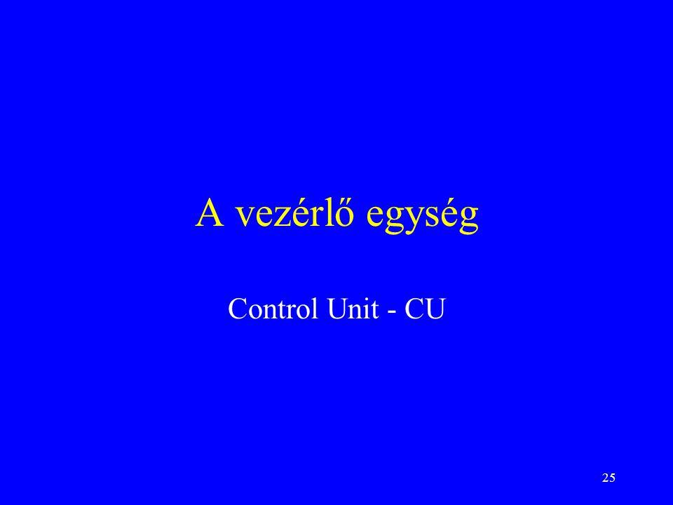 A vezérlő egység Control Unit - CU