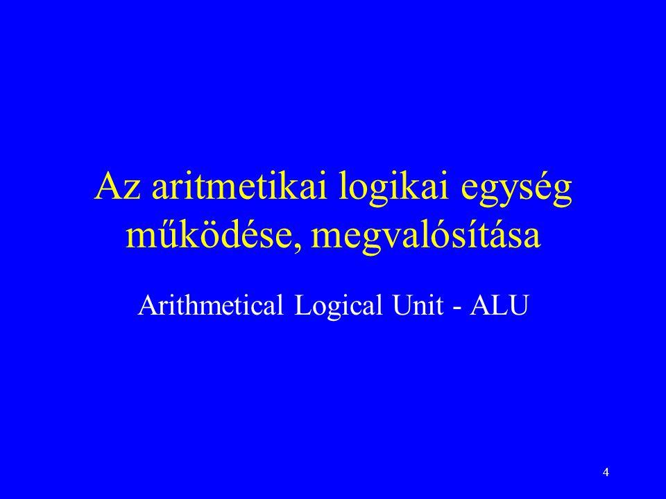 Az aritmetikai logikai egység működése, megvalósítása