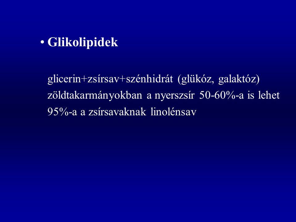 Glikolipidek zöldtakarmányokban a nyerszsír 50-60%-a is lehet