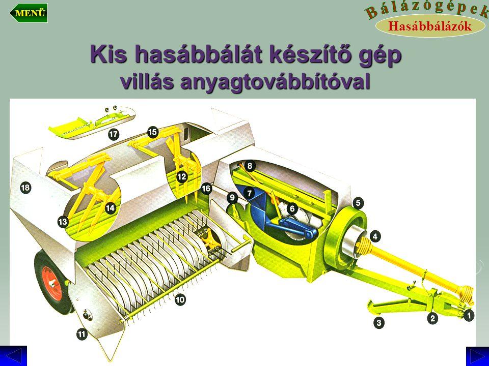 Kis hasábbálát készítő gép villás anyagtovábbítóval
