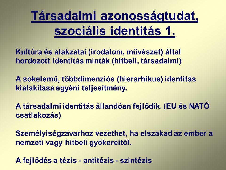 Társadalmi azonosságtudat, szociális identitás 1.