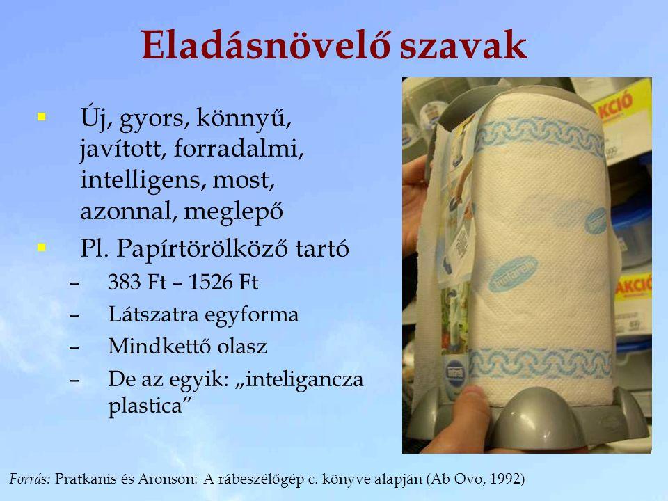Eladásnövelő szavak Új, gyors, könnyű, javított, forradalmi, intelligens, most, azonnal, meglepő. Pl. Papírtörölköző tartó.