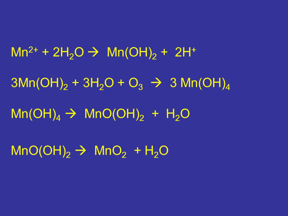 Mn2+ + 2H2O  Mn(OH)2 + 2H+ 3Mn(OH)2 + 3H2O + O3  3 Mn(OH)4.