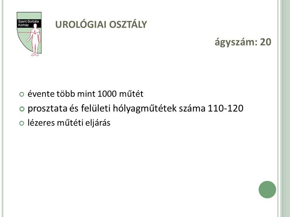 ágyszám: 20 Urológiai osztály