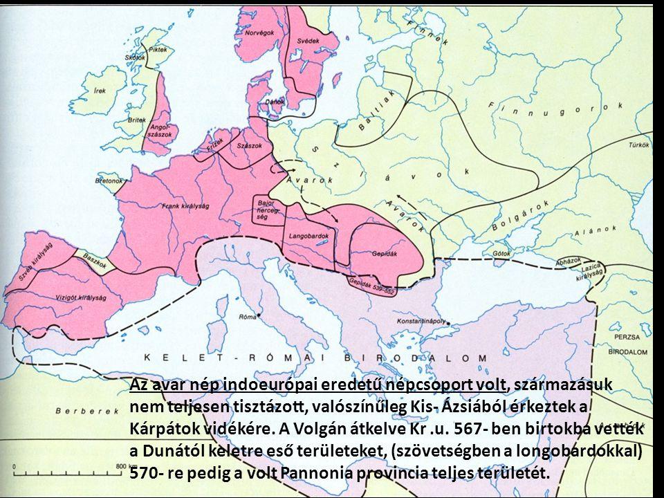 Az avar nép indoeurópai eredetű népcsoport volt, származásuk nem teljesen tisztázott, valószínűleg Kis- Ázsiából érkeztek a Kárpátok vidékére.