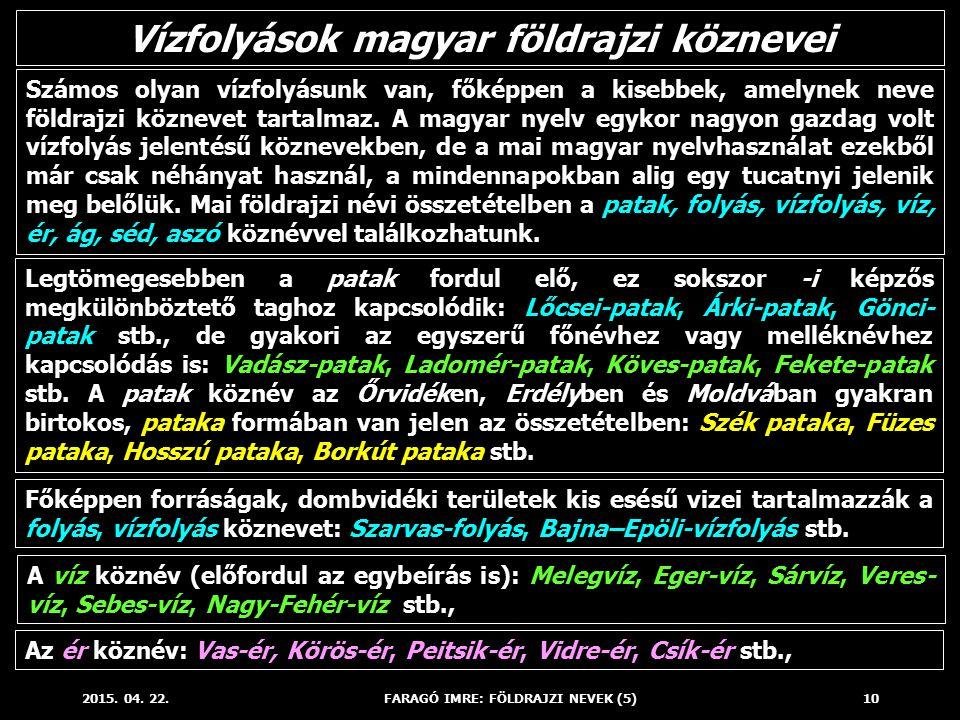 Vízfolyások magyar földrajzi köznevei FARAGÓ IMRE: FÖLDRAJZI NEVEK (5)