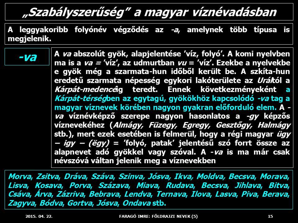 """""""Szabályszerűség a magyar víznévadásban -va"""