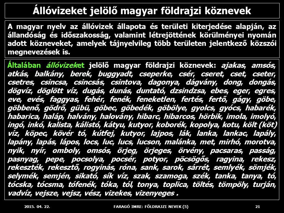 Állóvizeket jelölő magyar földrajzi köznevek