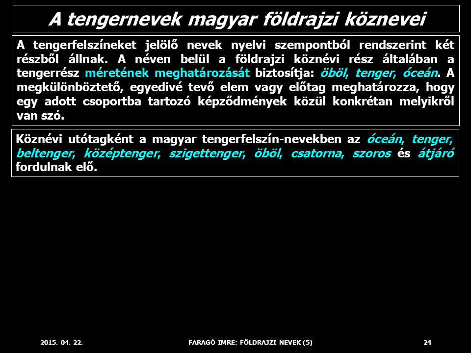 A tengernevek magyar földrajzi köznevei