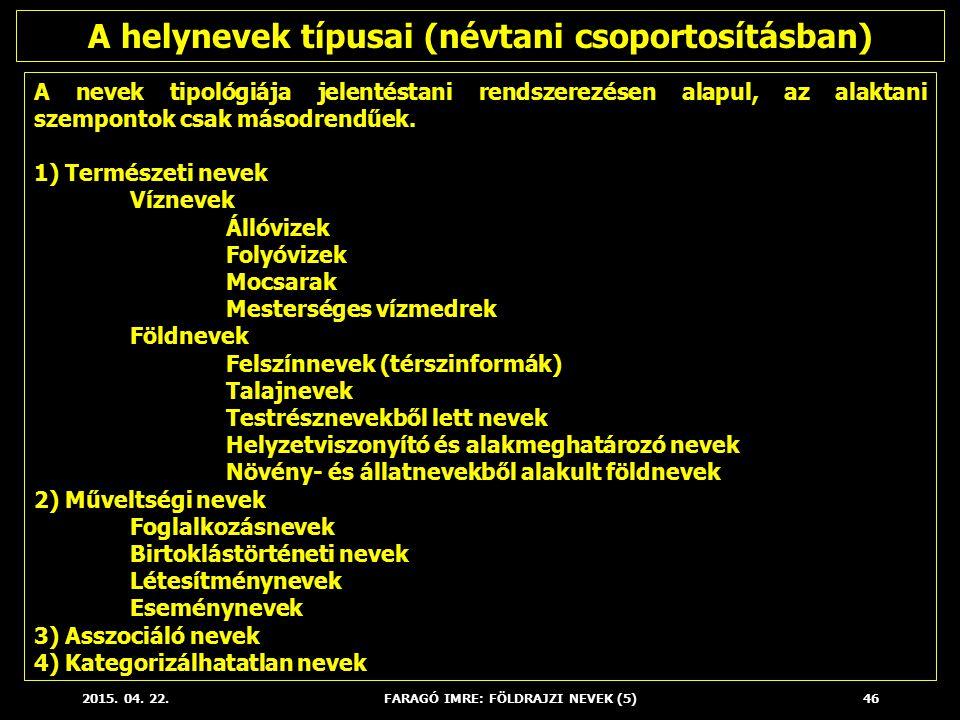 A helynevek típusai (névtani csoportosításban)