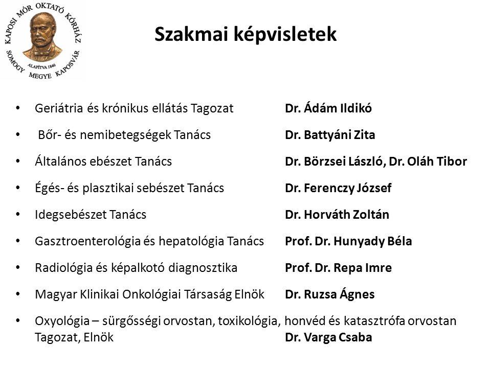 Szakmai képvisletek Geriátria és krónikus ellátás Tagozat Dr. Ádám Ildikó. Bőr- és nemibetegségek Tanács Dr. Battyáni Zita.