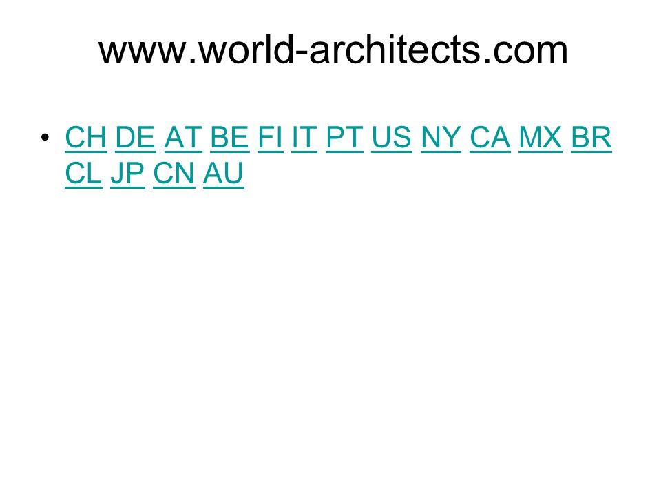 www.world-architects.com CH DE AT BE FI IT PT US NY CA MX BR CL JP CN AU
