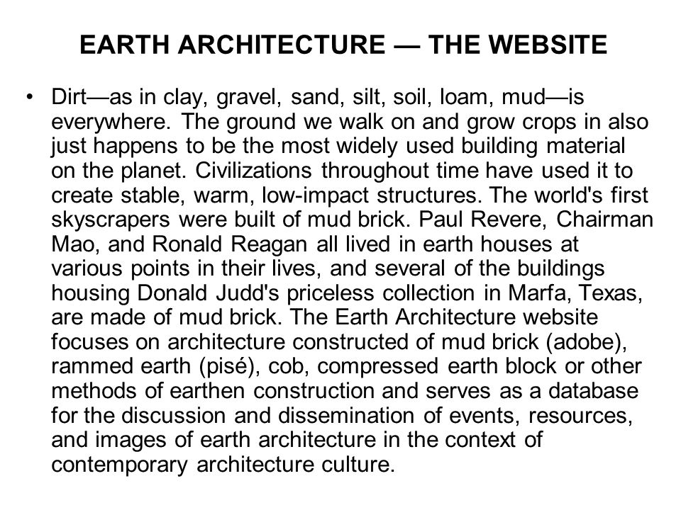 EARTH ARCHITECTURE — THE WEBSITE