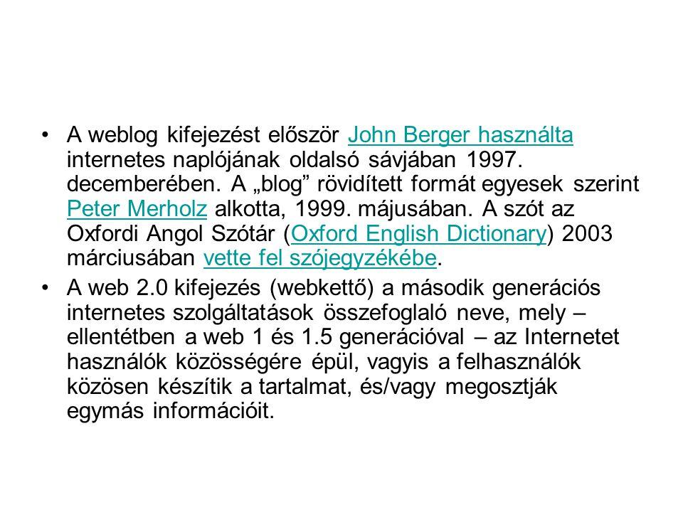 """A weblog kifejezést először John Berger használta internetes naplójának oldalsó sávjában 1997. decemberében. A """"blog rövidített formát egyesek szerint Peter Merholz alkotta, 1999. májusában. A szót az Oxfordi Angol Szótár (Oxford English Dictionary) 2003 márciusában vette fel szójegyzékébe."""