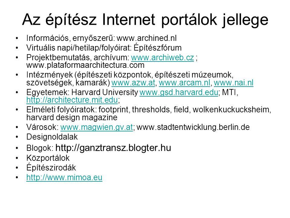 Az építész Internet portálok jellege